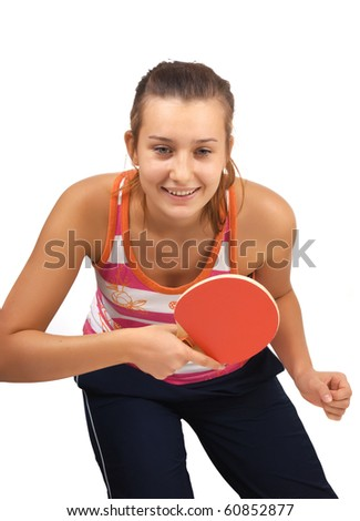 young girl plays  ping-pong isolated on white - stock photo