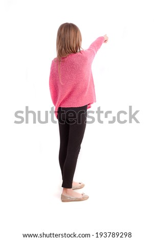 Young girl pointing - stock photo