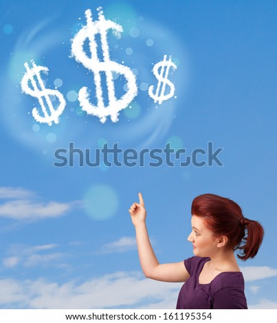 Young girl pointing at dollar sign clouds on blue sky concept