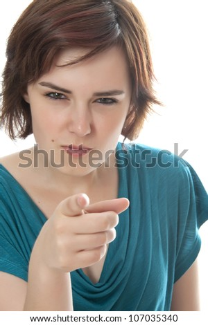 young girl pointing on you - stock photo