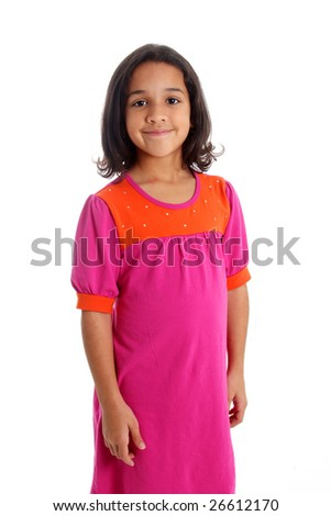 Young Girl Posing Against A White Background