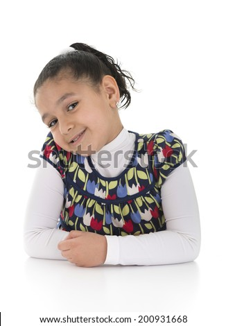 Young Girl Posing for Photo Isolated on White Background