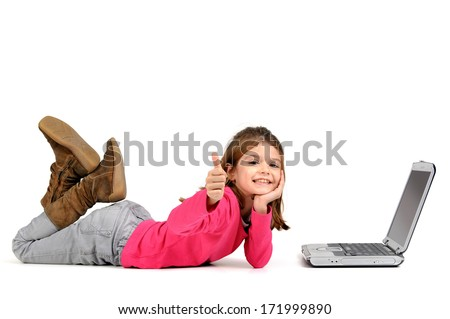 Young girl posing with laptop isolated in white - stock photo