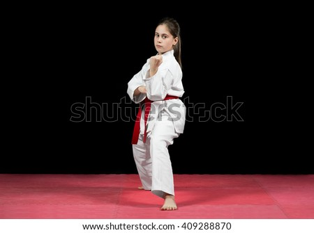 Young Girl Preforming Karate Martial Arts Stock Photo ...