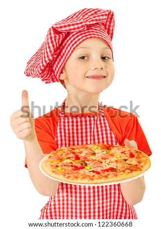 Young girl preparing homemade pizza - stock photo