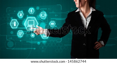Young girl pressing virtual media type of buttons