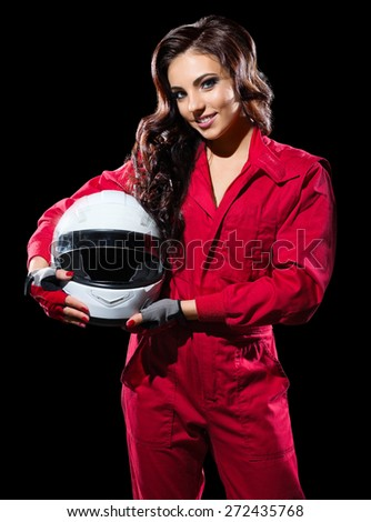 Young girl racer with helmet isolated - stock photo