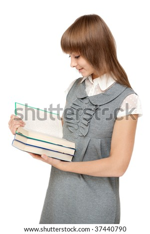 Young girl reads book on white background