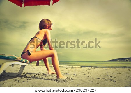 Young girl relaxing at the seaside