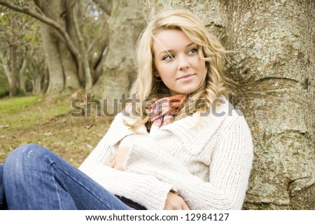 young girl relaxing in the park - stock photo