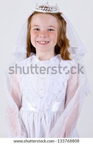 Young girl's First Communion - stock photo