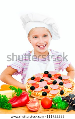 Young girl shows a pizza on a white background