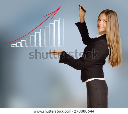 Young girl shows bar graph drawn with red arrow.