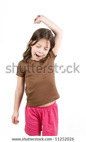 Young Girl Stretching 2 - stock photo