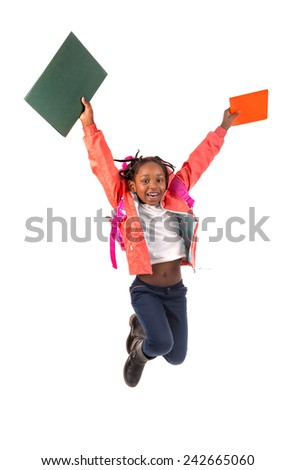 Young girl student jumping isolated in white - stock photo