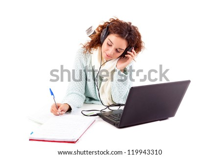 Young girl studying - isolated over white background