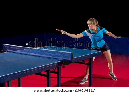 Young girl table tennis player isolated