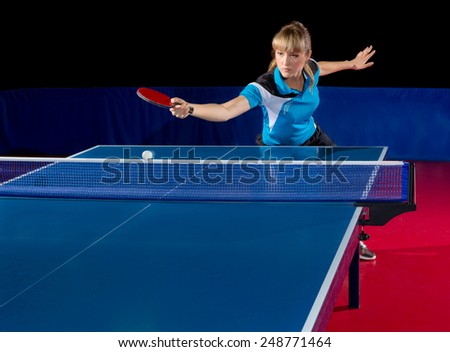 Young girl table tennis player isolated - stock photo