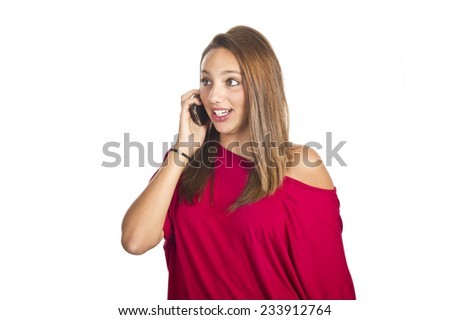 young girl talks by mobile phone - stock photo
