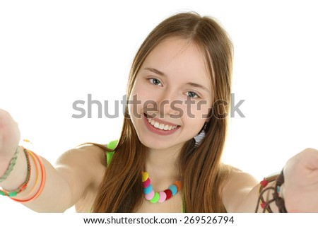 young girl teenager makes SELF