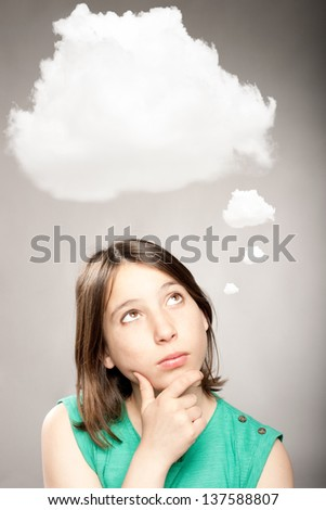 young girl thinking with a cloud over her head