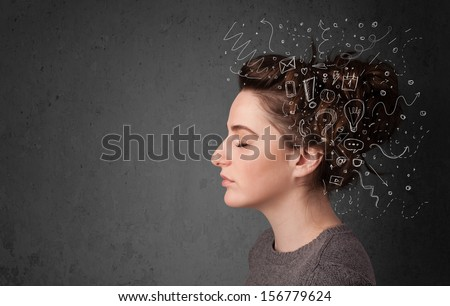 Young girl thinking with abstract icons on her head - stock photo