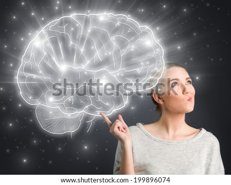 Young girl thinking with illustrated brain  - stock photo
