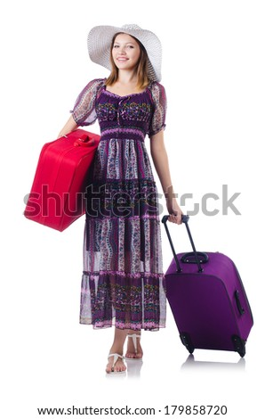 Young girl travelling isolated on the white - stock photo