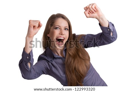 Young girl violently expresses his joyful emotions - stock photo
