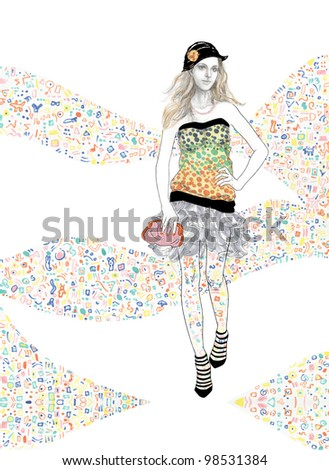 Young girl walks on the catwalk - stock photo