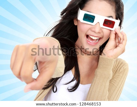 young girl  watching the movie and wear 3D glasses
