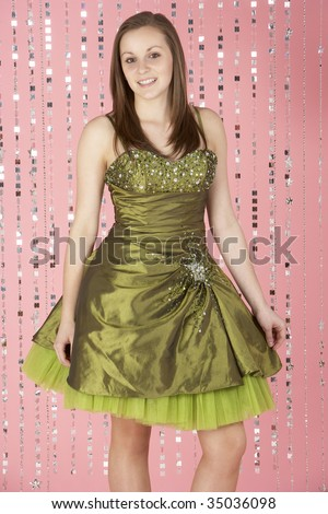 Young Girl Wearing Party Dress - stock photo