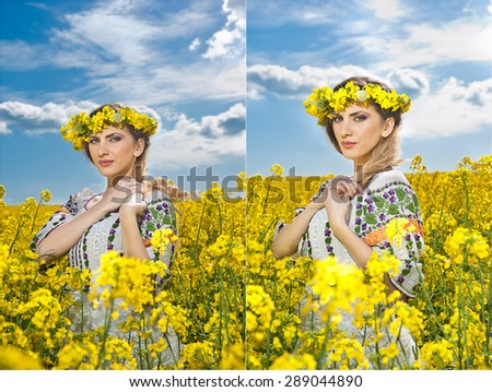 Young girl wearing Romanian traditional blouse posing in canola field with cloudy sky in background, outdoor shot. Portrait of beautiful blonde with flowers wreath smiling in rapeseed field - stock photo