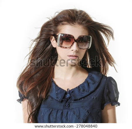 young girl wearing sunglasses   - stock photo