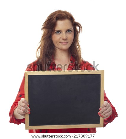 young girl whit a blackboard