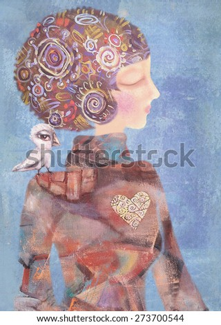 Young girl with a bird on his shoulder. Mysterious, interesting lady. Serenity concept. Can be used for printing on various products, such as tableware, packaging, calendars, boxes, gifts, albums etc. - stock photo