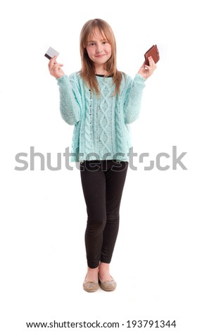 Young girl with a credit card - stock photo