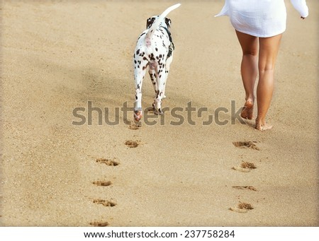 young girl with a dog walking on the sea - stock photo