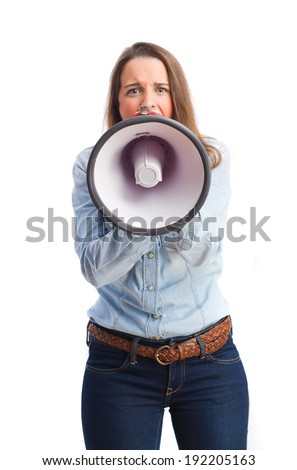 young girl with a megaphone