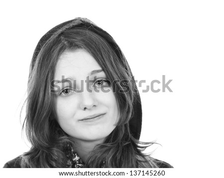 Young girl with a slightly sad expression - stock photo