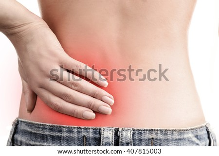Young girl with back pain close up