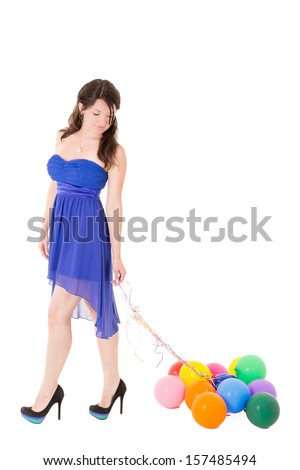 Young girl with balloons on a white background - stock photo