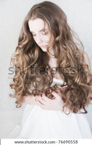 young girl with beautiful curls