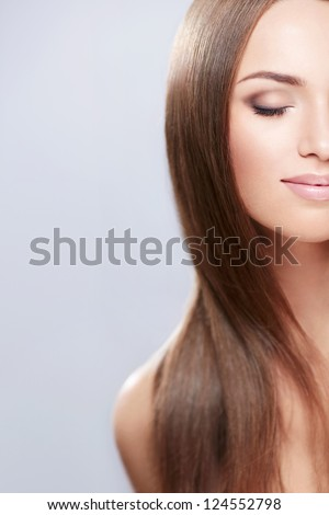 Young girl with beautiful hair isolated - stock photo