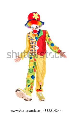 Young girl with clown costume isolated in white - stock photo