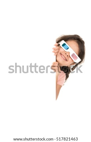 Young girl with 3d glasses over a white board