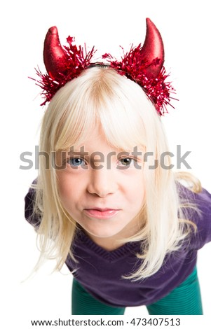 young girl with devils horns on her head