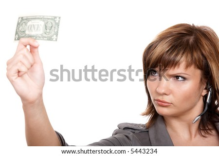 Young girl with dollar and microphone isolated on the white background - stock photo