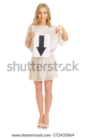 Young girl with down arrow banner isolated - stock photo