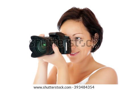 Young girl with DSLR isolated - stock photo